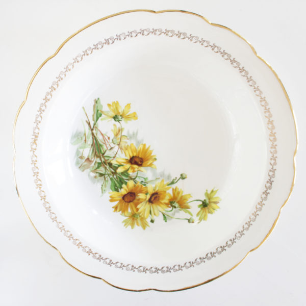 serveerschaal gele bloemen